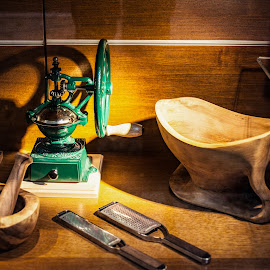 Kitchenware by Plamen Mirchev - Artistic Objects Cups, Plates & Utensils ( green, coffee, yellow, wood, kitchen, mill )