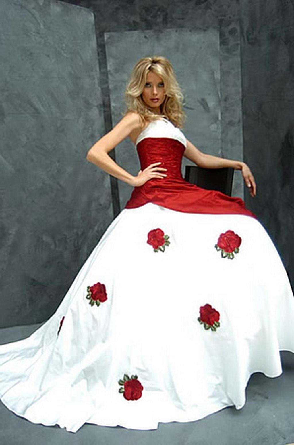 Beauty red white wedding dress