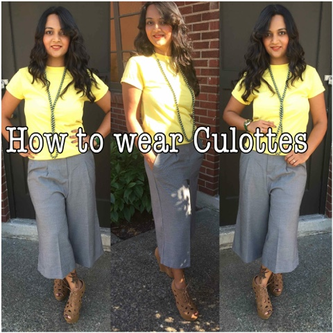 how to style culottes, formal culottes, culottes with tshirts, culottes style tips, how to wear culottes