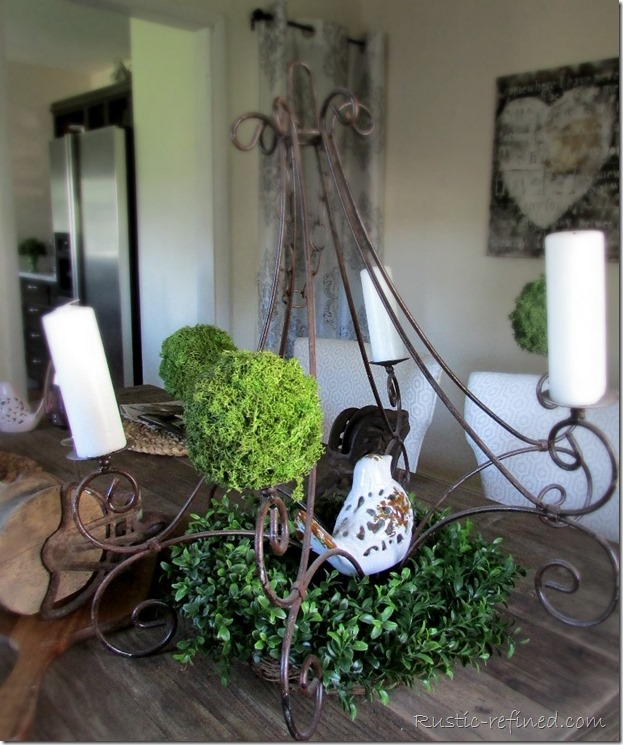 Rusty chandelier centerpiece
