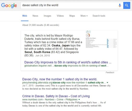 Davao Safest City Search Result