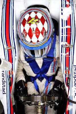 Вальтери Боттас в новом дизайне шлема специально для Гран-при Монако 2014