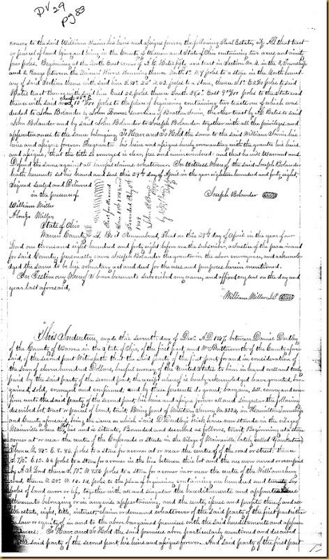 Joseph Bolander of Warren Co, OH conveys William Irwin Britton Irwin1848 1