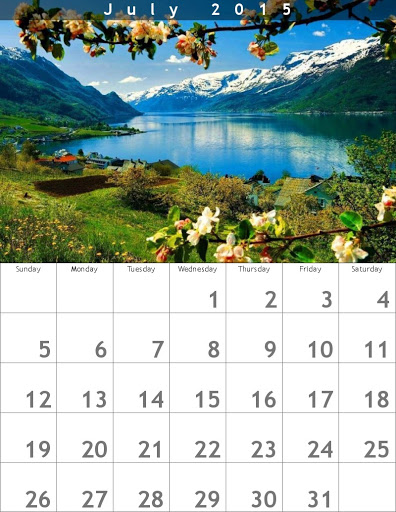 Calendario Julio 2015 con Paisaje natural de fondo
