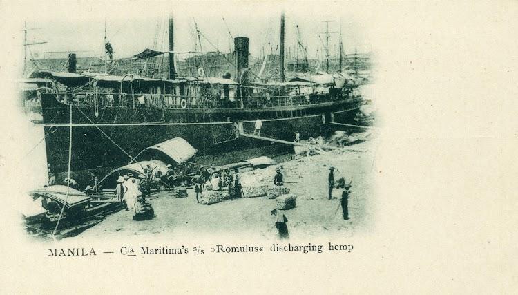 El vapor ROMULUS, de la Compañia Maritima. Postal. Ca. 1900.jpg
