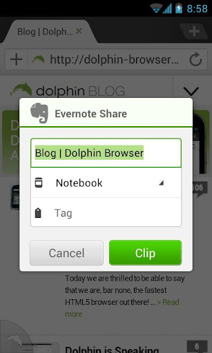 Evernote for Dolphin screenshot 1