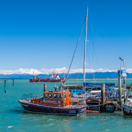 small ferry by Vibeke Friis - Transportation Boats ( mountains, wakefield quay, hdr, boats, sea,  )
