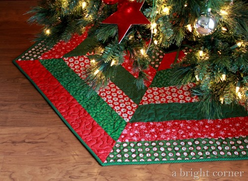 A bright corner quilting tree skirts