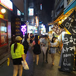 streets in Hongdae in Seoul, Seoul Special City, South Korea
