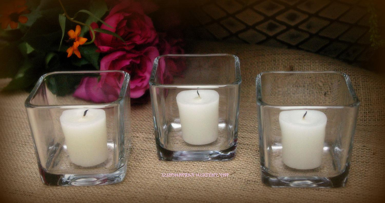 12 Small Glass Square Vase
