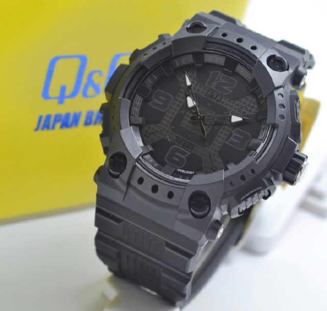 Jual Jam Tangan QQ GW82J006Y Full Black Rubber