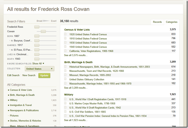 Ancestry.com search results can also be displayed in category view.