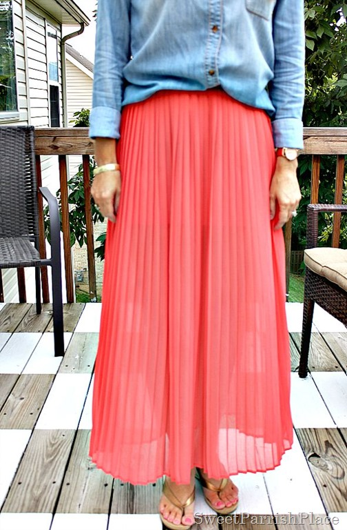 coral-pleated-skirt-chambray-shirt5