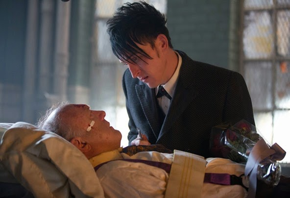 "GOTHAM: Oswald Cobblepot (Robin Lord Taylor, R) pays a special visit to Carmine Falcone (John Doman, L) in the ""All Happy Families Are Alike"" episode of GOTHAM airing Monday, May 4 (8:00-9:00 PM ET/PT) on FOX. ©2015 Fox Broadcasting Co. Cr: Jessica Miglio/FOX"