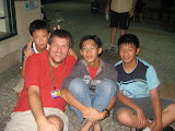Scott with Jimmy, Frank, and Mike at 2008 Sports and English Camp