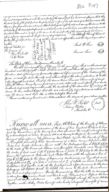 A.C. Bates and his wife, Mikey Bates of Warren County, Ohio conveys to James Irwin