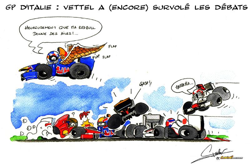 Себастьян Феттель окрыленный Red Bull - комикс Quentin Guibert по Гран-при Италии 2011