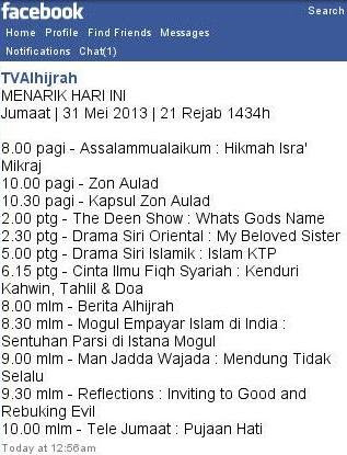 TV Alhijrah's Facebook Posting - Programme Summary For The Day