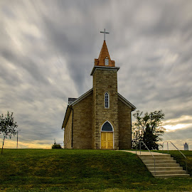 St. Patrick's by Ron Knight - Buildings & Architecture Places of Worship ( clouds, atchison, church, summer, kansas )