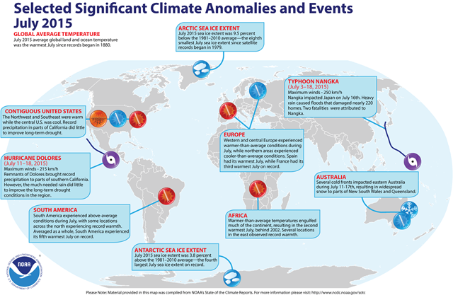 Selected climate anomalies and events global map for July 2015. Graphic: NOAA
