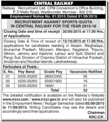 Central Railway Sports Quota 2015 Notification