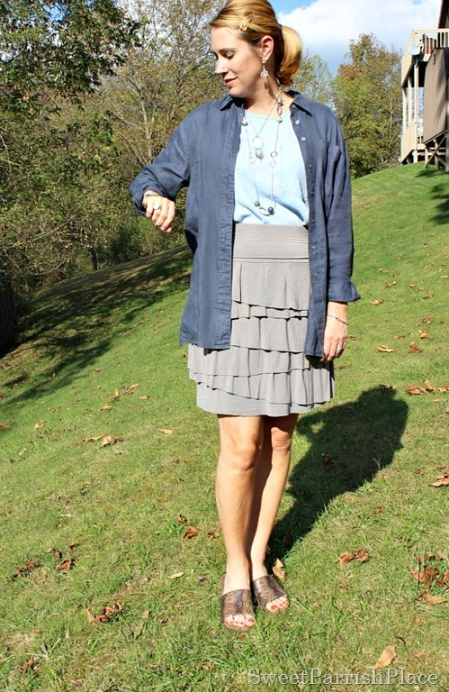 linen-button-down-grey-tiered-skirt-chambray-shirt-3