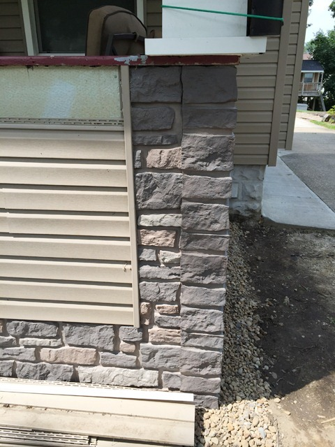 Porch Siding and Faux Stone Panels Corner Detail 1
