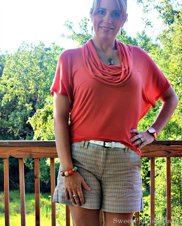 Coral Cowl neck top, plaid shorts, white wedges5