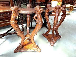Два столика. ок.1880 г. Дерево, резьба. Высота 85 см.