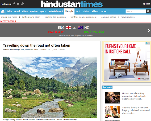 BE ON THE ROAD Mentioned in Hindustan Times