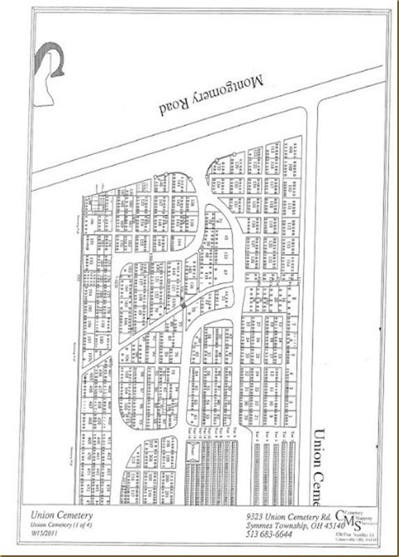 Union Cemetry Map, Symmes Twp, Hamilton Co, OH
