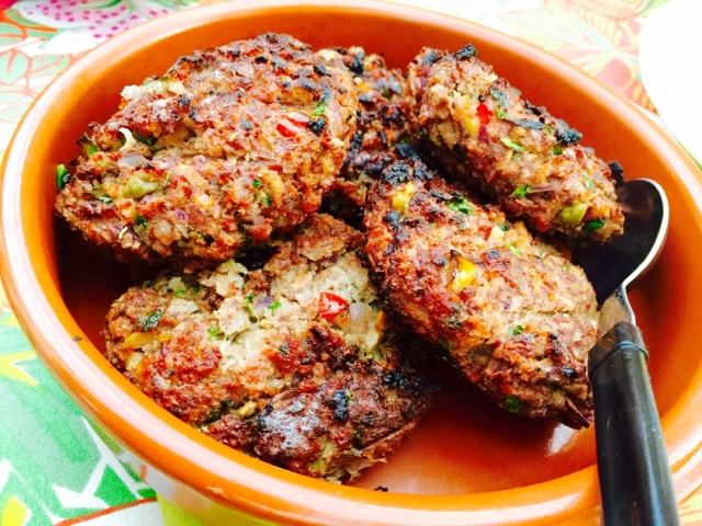 Ground moose BBQ burgers with olives and Greek spices