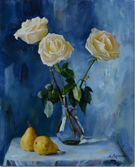 roses on blue - Anna-Marinova - ENKAUSTIKOS