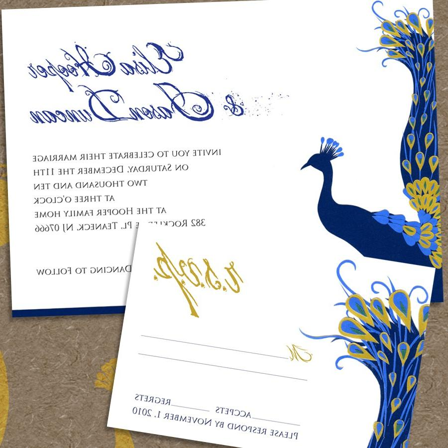 modern peacock printable wedding invitation and rsvp - digital pdfs