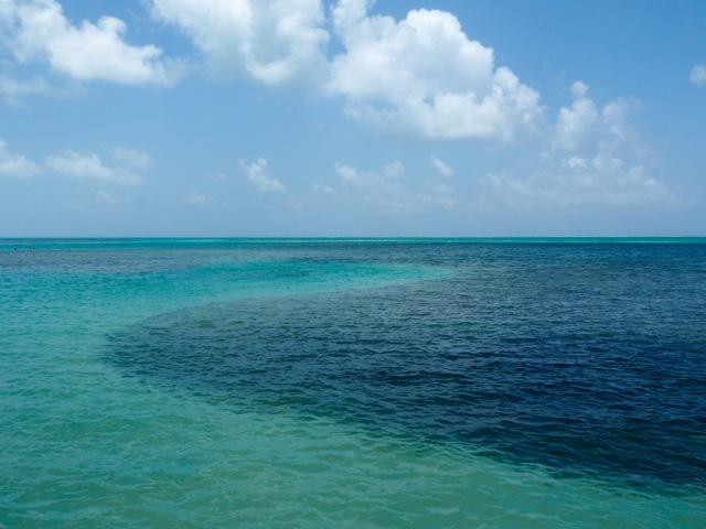 Ocean lagoon at The Split, on Caye Caulker, Belize