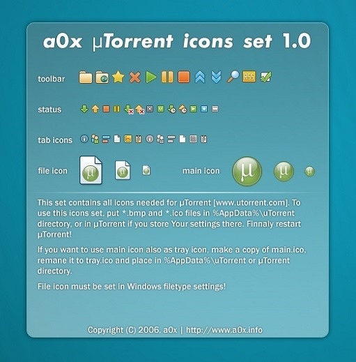 a0x utorrent icons set 1.0 skin