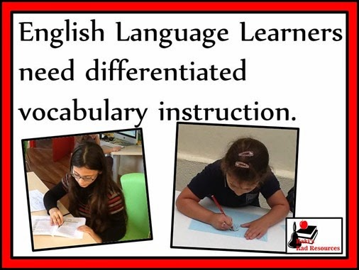 English Language Learners need differentiated vocabulary instruction. Build this into your daily routine with my Differentiated English Language Learner Vocabulary Packets. Resources from Raki's Rad Resources