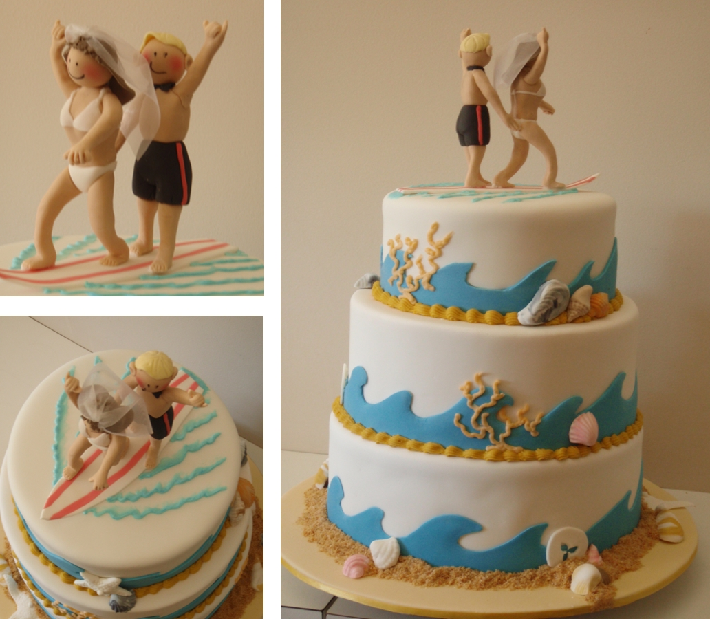 beach themed wedding cakes