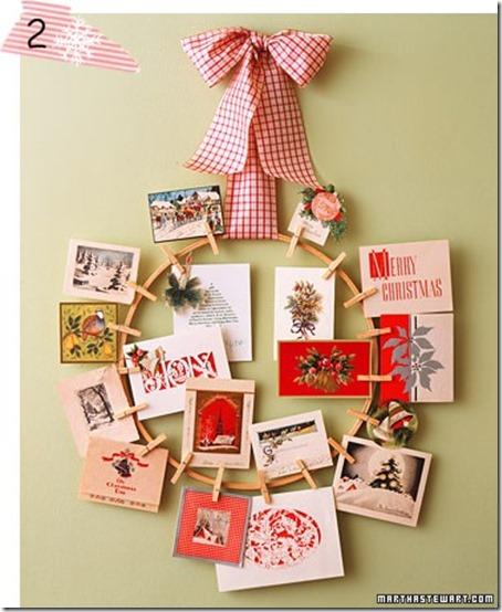 corona de navidad con postales