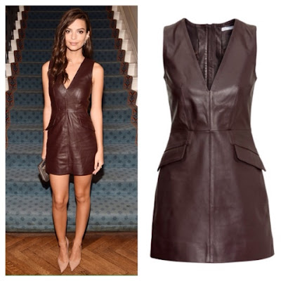 Emily Ratajkowskli Emrata in H&M Brown Leather Dress at New York Fashion Week