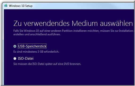 Windows 10 USB Tool von Microsoft