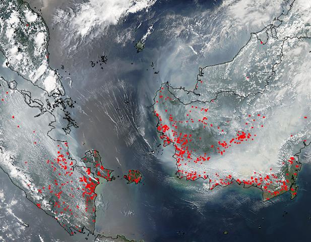 Satellite view of smoke and fires in southern Sumatra and Borneo, 22 September 2015. Photo: NASA Aqua / MODIS