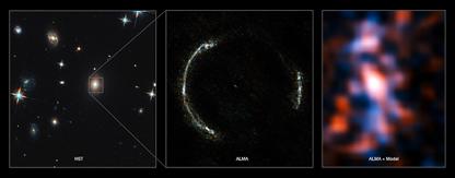 imagem composta do anel de Einstein de SDP.81 e da galáxia reconstruída
