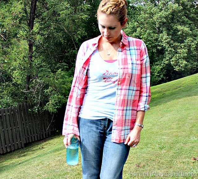 plaid button down, graphic T shirt, jeans1