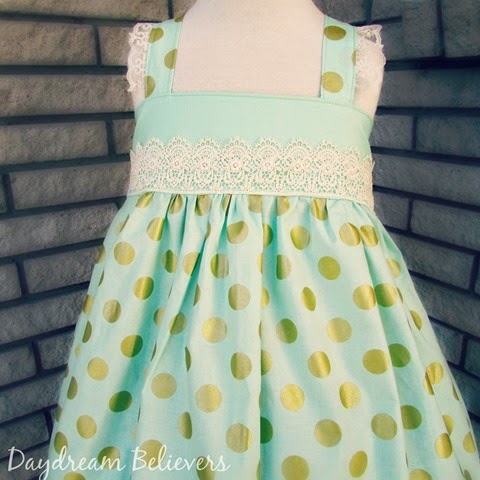 Mint and Gold Special Occassion Easter Dress with Lace Accents by Daydream Believers Designs - This would be the PERFECT #flowergirldress