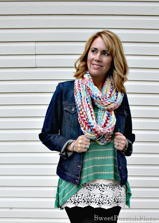 black-leggings-denim-jacket-green-striped-tank-lace-extender-scarf2