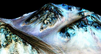 listras longas, estreitas e escuras em Marte