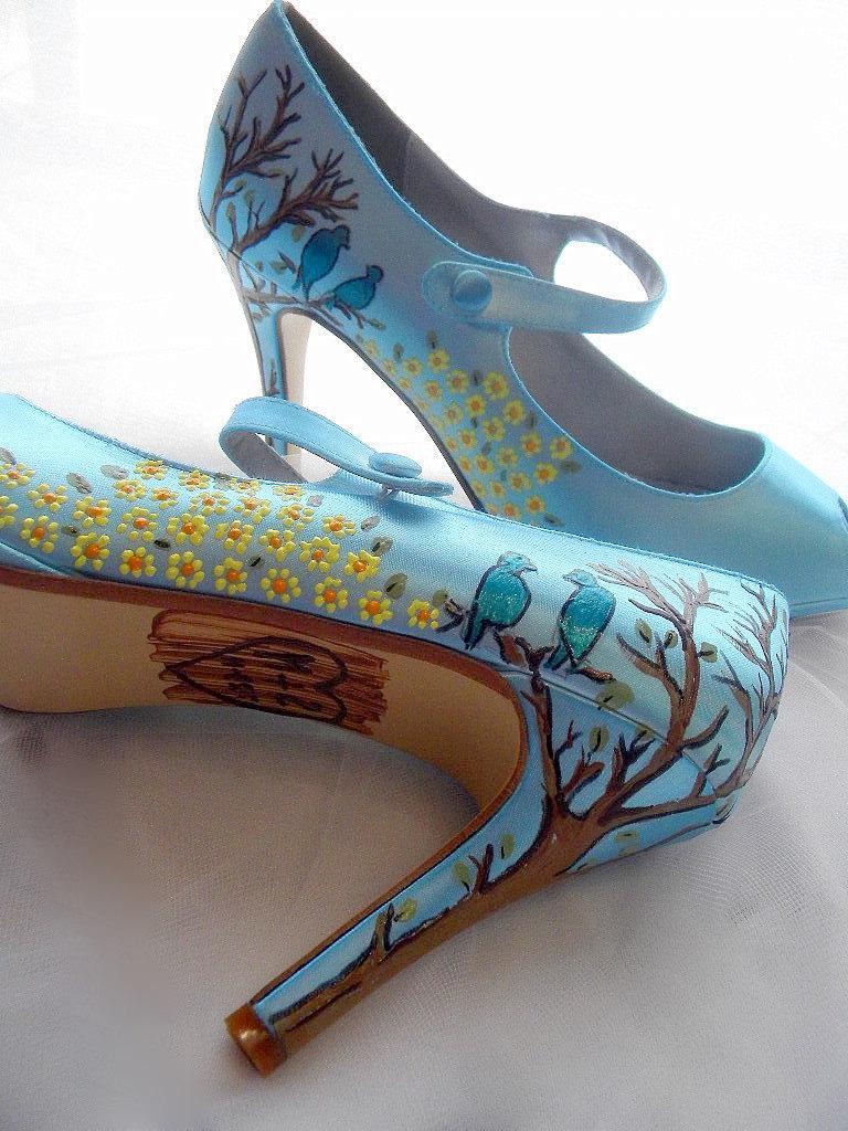 Wedding shoes twitter blue