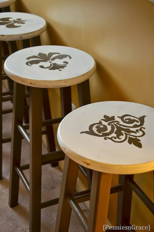 Stenciled stools (2)
