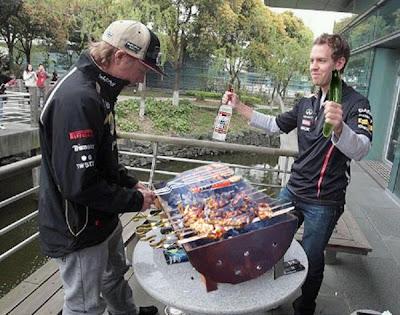 Кими Райкконен и Себастьян Феттель готовят шашлык на Гран-при Китая 2012 - фотошоп от Mishok